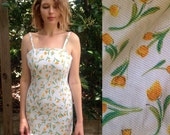 90s white quilted dress w/ yellow tulips