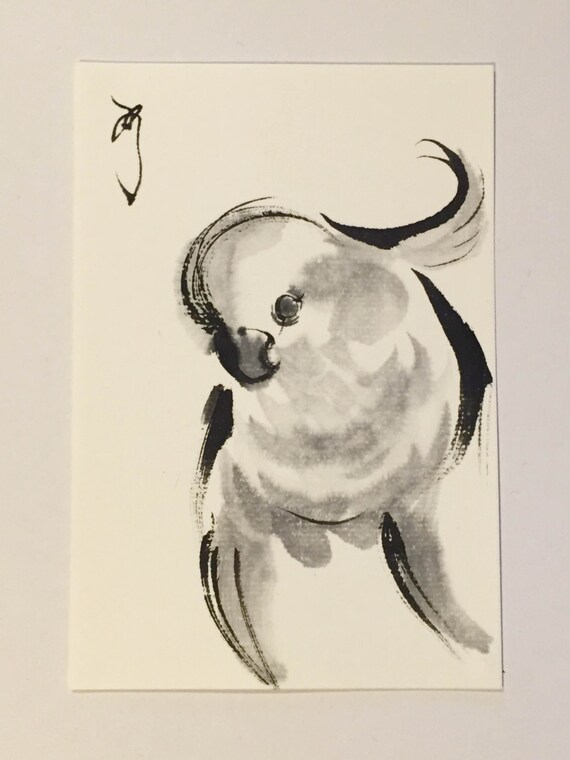 Japanese Ink Drawings Drawing Paintings Parrot By