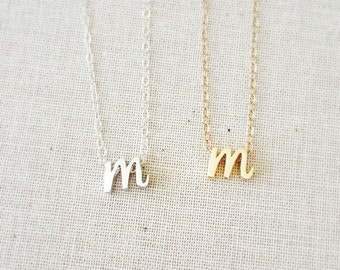 "Tiny Gold Cursive Initial ""M"" Necklace, Silver Cursive Initial M Necklace, Letter Necklace, Lowercase Script Necklace, 14Kt Gold Filled"