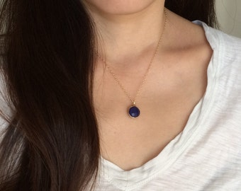Gold Blue Lapis Round Disc Necklace Long or Short