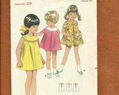 Vintage  1960's Butterick 4865 Round Yoke Dresses for Little Girls with Inverted Front Pleat Size 4