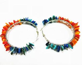 Colorful Hoop Earrings, Shell Earrings, Shell Hoops Earrings, Orange Blue, Shell Jewelry, Boho Hoops Earrings, Colorful Earrings, Big Hoops