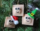 Holy Ravioli! It's an Ornament! One Custom Made your choice Plain, Santa, Elf