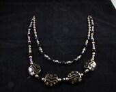 Kazuri beaded necklace, hand beaded Kazuri necklace, black and gold Kazuri hand beaded necklace, Double strand hand beaded necklace
