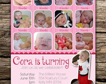 Month to Month Pictures First Birthday Invitation, First Birthday Invitation with Monthly Pictures, Twelve Months Invite, Digital File Only