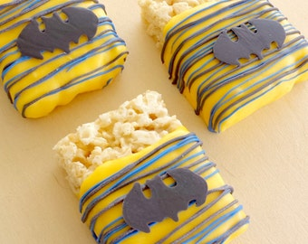 Batman Chocolate Dipped Rice Krispie Treats (12)