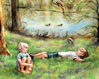 "Friends, brothers, children - ORIGINAL pastel painting - kids nature  Art ""Summer Delight""  by Laurie Shanholtzer 16x18"