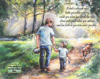 "Personalized Father's Day gift, Add Names text, girl or boy sports custom"" Fishing With My Dad"" Laurie Shanholtzer"