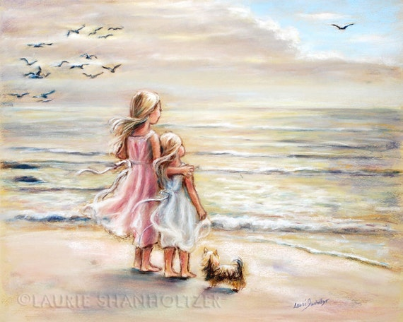 "beach  painting, Girls decor, sisters, kids art, sea, pastel, paper and Canvas Art Prints, ""The Ocean's Lullaby"" Laurie Shanholtzer"
