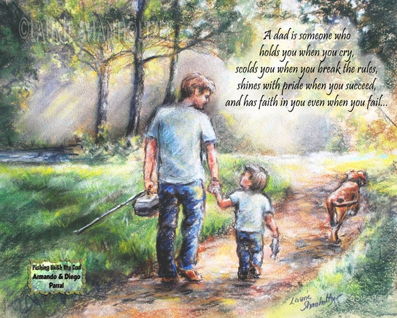 Father Personalized FISHING With MY DAD  Add Names text, girl or boy sports custom print Laurie Shanholtzer
