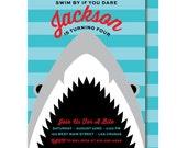 Shark Birthday Invitation, Shark Party Invitations