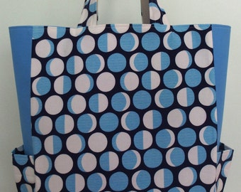 Blue Tote with Moon Phases, Modern Tote with Pockets, Fun Tote, Astronomy, Market Bag, Carry All Bag, Reusable, Lizzy House Constellations