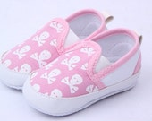 Skull and Crossbones Baby Shoes Black, Blue, Pink