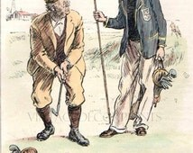 Original Vintage Golf Print from The Punch Magazine Dated 1928. A Hand Colored Engraving. Vicar and Curate. A Perfect Gift for a Golfer