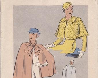 1930s Cape Pattern Vogue 6340 Bust 36 - 38