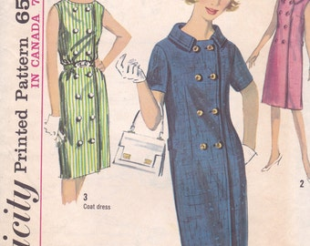 1960s Double Breasted Dress Pattern Simplicity 5818 Size 12 Uncut