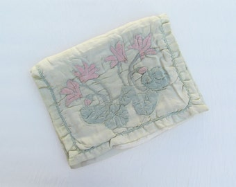 Vintage silk hosiery pouch with trapunto quilting, 1920's green silk quilted pouch