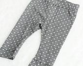 Baby Gray Polka Dot Legging, Baby Clothing, Summer Leggings, Capri Leggings, Modern Baby Legging, White Baby Leggings, Boy Legging