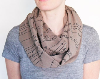 Organic Linen and Tencel Infinity Scarf - Beige with Cabin in the Woods Print