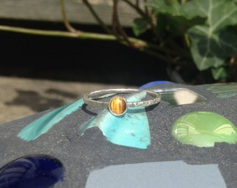 Tigerseye Ring, Sterling Silver Tiny Stacking Ring