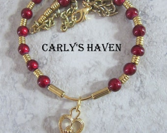 Handmade cranberry colored beaded necklace for girls with gold key focal, gifts for girls, free gift wrap, free shipping, made in Montana