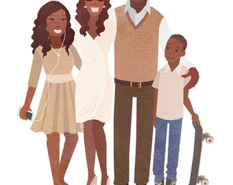 Custom Personalized illustrated Family Portrait, mothers day gift, birthday present, couple portrait