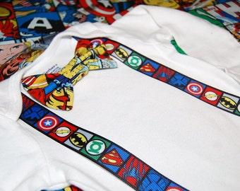 Superhero baby boy cake smash outfit handmade from Marvel and DC fabrics  Superhero birthday . sci fi birthday. first birthday