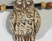 Owl in the Woods Necklace ~ Owl Pendant Sculpted in antique ivory polymer ~ Gift for Bird Watcher ~ white ecru tan brown black ~ wood