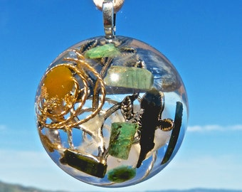 Silver TREE of LIFE Positive Energy Orgone Dome Pendant with Blue Kyanite, Black Tourmaline, Amber, Emerald and Rose Quartz. EMF Protection.