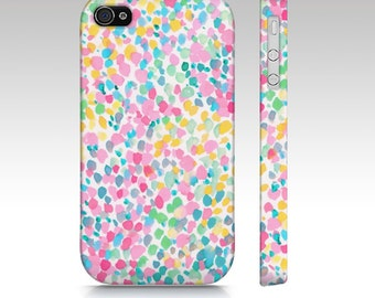 Watercolor iPhone 6s case, iphone 5s case, iPhone 6 case, iPhone 5c case, watercolor dots, pink aqua yellow, pastel art for your phone