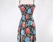 70s Black Floral Sundress - sm