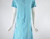60s Blue Gingham Scooter Dress - med