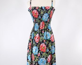 70s Black Floral Sundress - sm