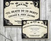 Ouija Board Invitation for Wedding Reception, Halloween Wedding Invite, Til Death Do Us Part, Gothic Invitation, Halloween Party Invitation