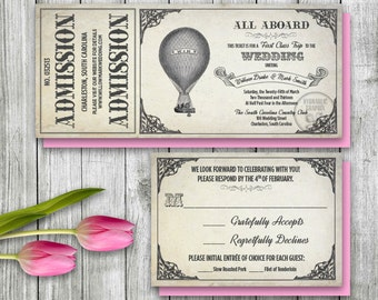 Hot Air Balloon Invitation Set, Printable Ticket Invitation, Wizard of Oz Wedding theme, Vintage Antique Wedding Theme, Steampunk Wedding