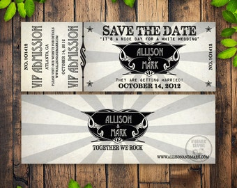 Printable Concert Ticket Wedding Save the Date with VIP Admission for Rock Music theme, Invitation for any event