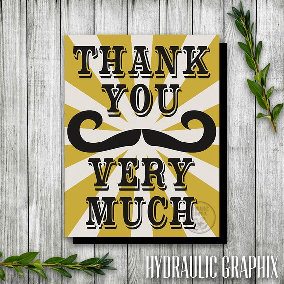 Steampunk Party Thank You Card, Mustache Party Thank You ...