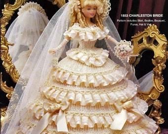 Crochet Collector Costume Volume 53 / 1853 Charleston Bride / Fashion Doll  Crochet Pattern P-064