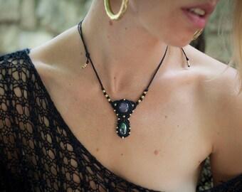 Black Macrame Necklace/ Macrame Jewelry/ Tribal Macrame Jewelry/ Elegant Macrame/ Boho Macrame