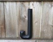 "14"" Vintage Industrial Metal Marquee Letter J - Black metal - NOS Steel Sign Letter - salvaged black metal letters - beveled metal letters"