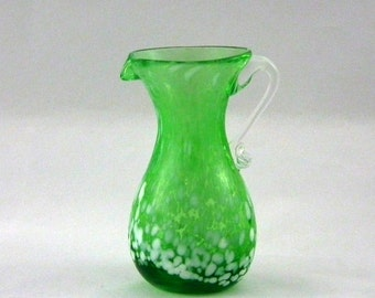 Kanawha Glass 1115 Pitcher in Green End of Day Glass - Vintage 1970s Window Glass