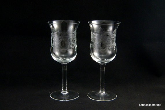 Wine Glasses Etched With A Wreath And Swag Pattern All