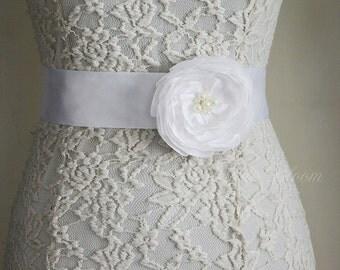 White, Flower Bridal Sash Belt, Wedding, Dress Gown Sash, Belt and Sashes, Belt Flower, Tie Back Belt,  Bridesmaid Sash, Flower Girl Belt