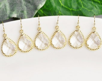 Bridesmaid Jewelry SET OF 7 Bridesmaid Earrings Clear Crystal Drop Earrings Gold Bridal Party Jewelry