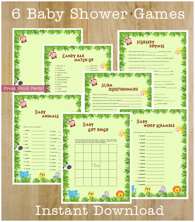 Baby Shower Games: Jungle Safari Party Baby Shower Game Pack INSTANT DOWNLOAD