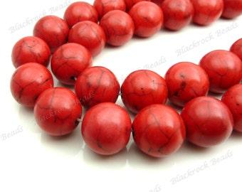 12mm Red Magnesite Gemstone Beads - 15.5 Inch Strand - Round, Opaque, Black Veining - BG26