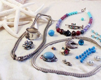 REDUCED Multi-Color Lot for Restoration DIY Jewelry Crafts DESTASH Lot Plus Extra Small Mystery Bag of Beads