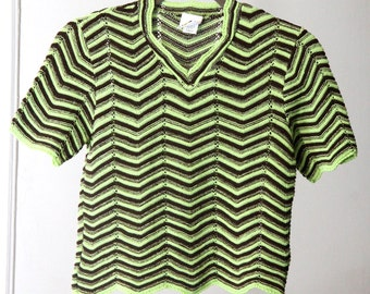 Neon Green and Brown Zig Zag Pattern 90s Knit Crop Top