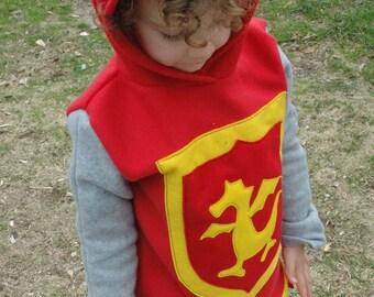 Fleece Knight Hooded Tunic, Fleece Hoodie, Halloween Costume, Kid Costume