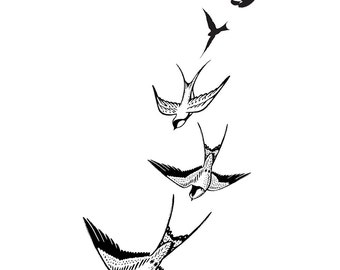 Swooping Swallows Temporary Tattoo. *Premium Quality Die Cut Transfer & Skin Safe*